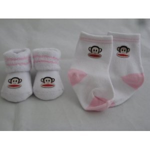 Small Paul by Paul Frank Two Pair Booties White And Pink 0-12 Months