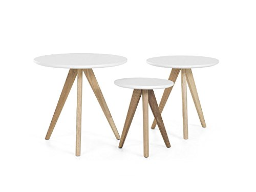SMARVVV PRODUCTIONS Smart & Stylish Grey Colored Rosewood Round Shaped Victorian Coffee Table Set of 3 table in Standard Size & Weight (GREY)