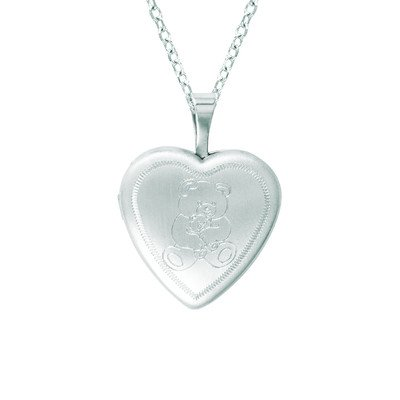 Momento Lockets Sterling Silver Heart Shaped Locket with Teddy Bear Necklace
