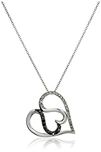 Sterling Silver 1/4cttw Black and White Diamond Heart Pendant Necklace, 18