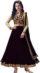 3G9 shop Designer Black Golden Net Embroidered Semi Stitched Salwar Suit Dupatta Dress Material