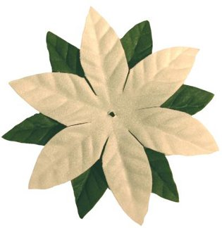 Durham Imaginisce Candy Cane Lane 3-1/2 Inch Poinsettia Vendetta Flowers, 2 Green and 8 White/Package - 1