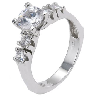 Sterling Silver Engagement Ring With Round Cubic Zirconia in 6 Prong Setting and Sidestones in Bar Setting