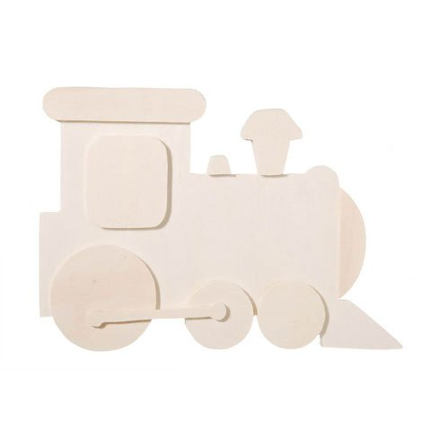 Bulk Buy: Darice DIY Crafts Chunky Unfinished Wood Shape Train 4.25 x 6.25 inches (6-Pack) 9189-01