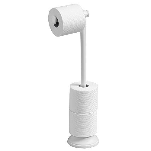 Toilet Paper Holder Free Standing Bathroom White Holds 3
