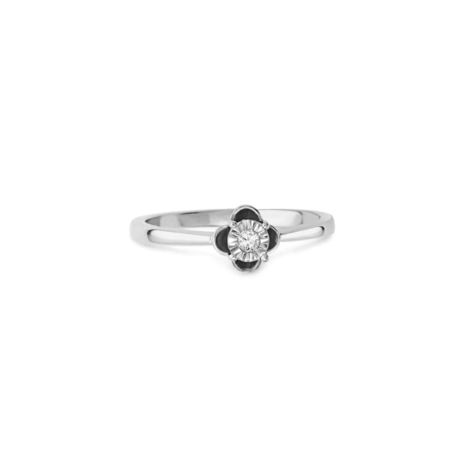 Sterling Silver Round Diamond Solitaire Promise Ring (1/10 cttw)