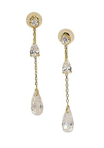 [四葉のクローバー] 18金 チェーンピアス キュービックジルコニア gold pierced earring (両耳用1ペア) K18 ゴールド cz 揺れるピアス 18k レディース 女性 品質保証書付 :Sa444