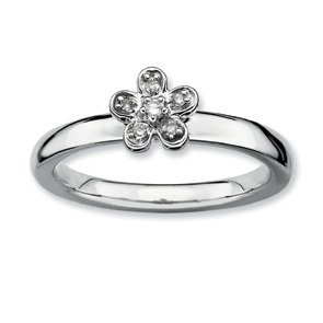 0.041ct Romantic Silver Stackable Flower Diamond Ring. Sizes 5-10