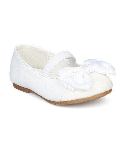 Jelly Beans Ag19-Mirona Glitter Cap Toe Ribbon Bow Mary Jane Elastic Band Ballet Flat (Toddler) - White (Size: Toddler 5)