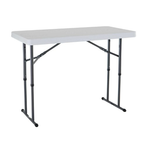 80160 4 foot commercial adjustable height folding table white granite