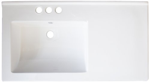 American Imaginations 426 34-Inch by 18-Inch White Ceramic Top with 4-Inch Centers