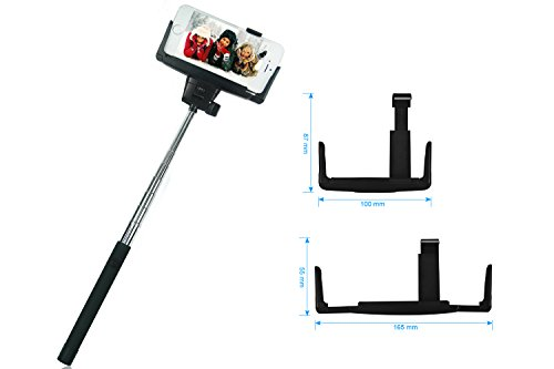 hapurs bluetooth selfie stick with remote button shutter and plastic rearview mirror extendable. Black Bedroom Furniture Sets. Home Design Ideas