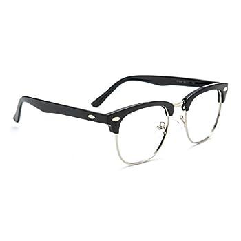 TIJN® Men's Classic Inspired Half Frame Nerd Horn Rimmed Clear Lens Glasses