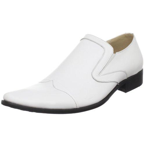 JUMP Men's Slim Slip-On,White Leather,13 D US