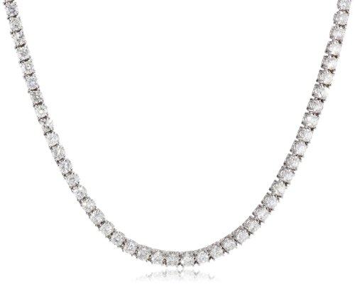 IGI Certified 18k White Gold Diamond Tennis Necklace (7.00 cttw, H-I Color, SI2-I1 Clarity), 17″