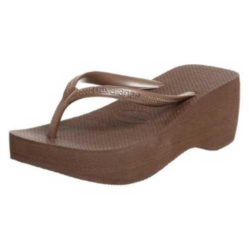 Havaianas High Look Flip Flops Dark Brown Size 6