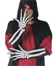 Skeleton Bone Hand and Wrist Gloves Costume Accessory