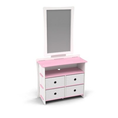 Cheap Legare Furniture DRSM-122 / MRWM-112 Legare Kids Dresser and Mirror Set in Pink and White (DRSM-122 / MRWM-112)