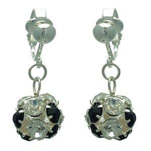 Delfina Silver Jet Crystal Clip On Earrings