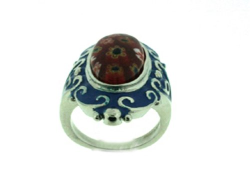 Stainless Steel Venetian Glass Ring, Size 10