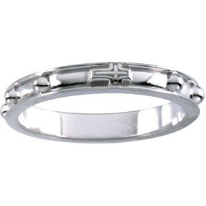 10k White Gold Rosary Ring, Size 12