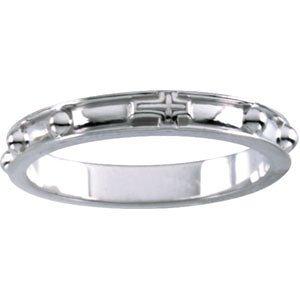 10k White Gold Rosary Ring, Size 12