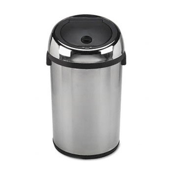 Kazaam Motion-Activated Receptacle, Round, 17 gal, Stainless Steel/Black