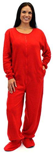 Sleepytimepjs Adult Solid Red Fleece Footed Pajama (2X) front-997578