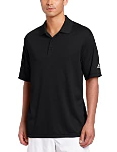 adidas Golf Men's Climalite Solid Polo Shirt, Black, Small