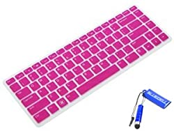 Bluecell (DELL-016) Semi-Transparent Silicone Keyboard Protector Cover Skin for Dell Inspiron 14R, N4110, 14V, 7520, 5420, 15R Turbo, 14R Turbo, XPS, L502X,V3460 US version Laptop (Hot Pink)