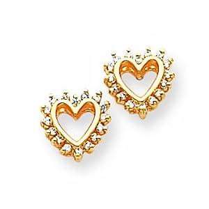 14k AA Diamond heart earring