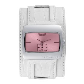 Vestal Men's SN023 Saint Leather White Crocodile Band Pink Dial Watch