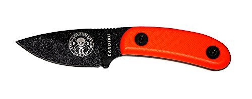 ESEE Knives Black CANDIRU Fixed Blade Knife with Orange G10 Handles and Black Molded Polymer Sheath