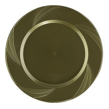 "Newbury Collection 10.25"" Gold Plastic Plates, Heavyweight Disposable Dinner Plates 15 Per Pack front-60097"