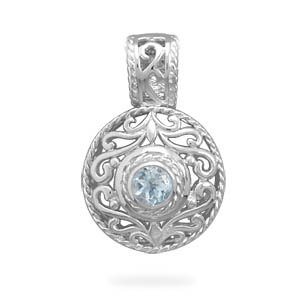 Sterling Silver Blue Topaz Round Floral Pendant Charm - JewelryWeb