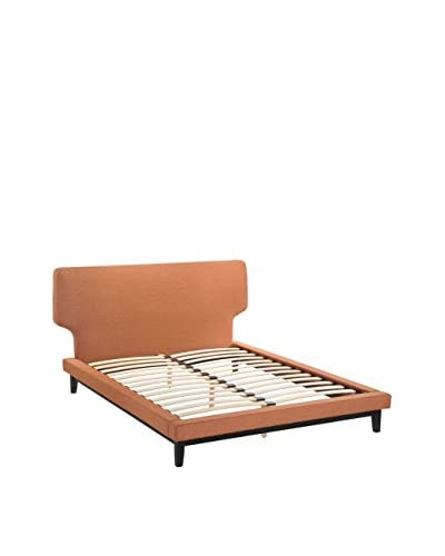 LexMod Bethany Queen Bed Frame, Black/Orange