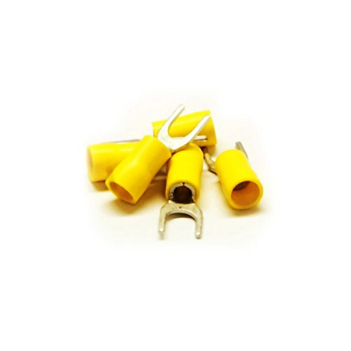 C&E Cne34987 Fork Terminal, Yellow, 12 Awg - 14 Awg, Electrical Wire Connection, 100 Pieces