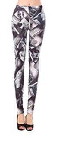 Ladies-Pantacollant donna, colore: grigio, taglia unica 8 10 12