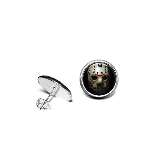 [Friday The 13th Halloween Earrings Jason Vorhees Hockey Mask 1/2 inch 12mm Stainless Steel Stud] (Jason Vorhees Masks)