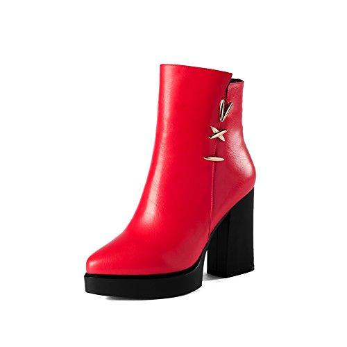 balamasa-ladies-chunky-heels-winkle-pinker-platform-metal-ornament-red-microfiber-boots-3-uk