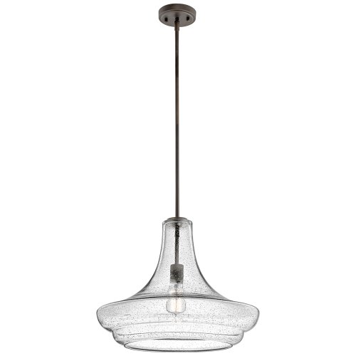 Kichler Lighting 42329Ozcs Everly 1Lt Pendant, Olde Bronze Finish With Clear Seedy Glass