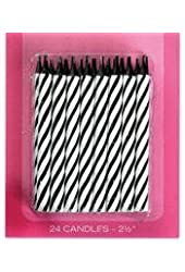 24 black and white candy striped candles