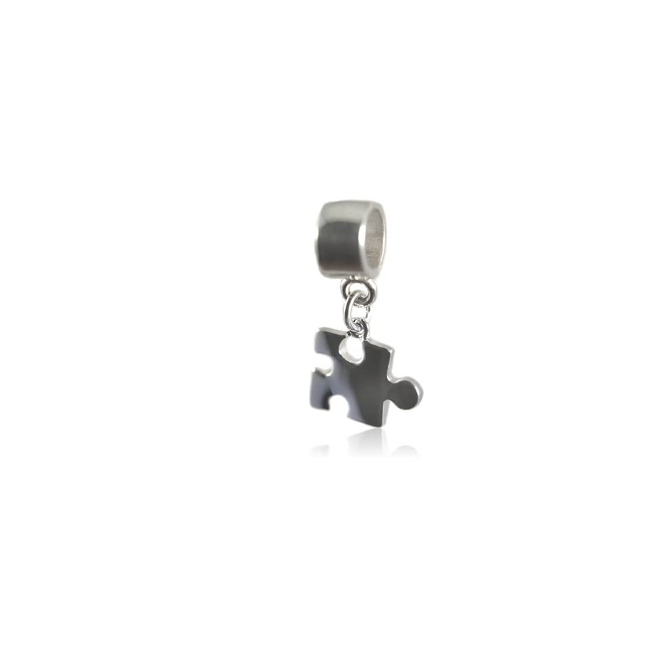 Autism Awareness Puzzle Piece Sterling Silver Dangle Charm Bead Fits European Bead Bracelets Jewelry
