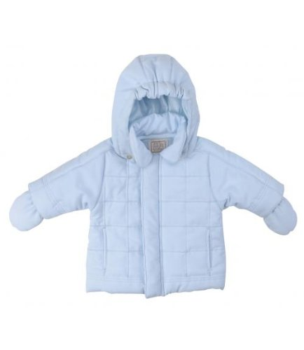Emile et Rose Showerproof Blue Microfibre Coat with Detachable Hat and Mitts, Jackets, Baby boy, 1-3 months