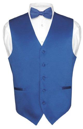 Men's ROYAL BLUE Dress Vest BOWTie Set for Suit or Tuxedo Medium