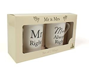 Boxed Set of 2 Gift Mugs - Mr Right and Mrs Always Right by Amore