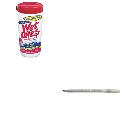 Kitbicgsm11Bkplx04703Ct - Value Kit - Wet Ones Antibacterial Moist Towelettes (Plx04703Ct) And Bic Round Stic Ballpoint Stick Pen (Bicgsm11Bk) front-986751