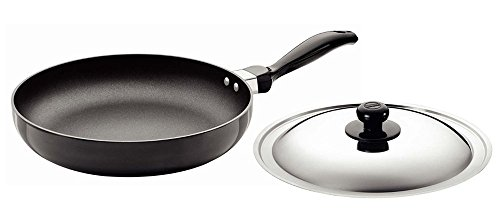 Futura Q24 Non-Stick 10-Inch Frying Pan Indian Style with Stainless Steel Lid