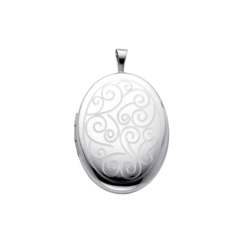 Sterling Silver Engraved Locket Pendant (1