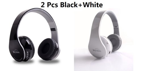 New 2Pcs(Black+ White) Aec@ Smart Wireless Bluetooth Headphone Black Color---For Apple/Sony/Samsung Galaxy/Microsoft/Amazon Kindle/Hipstreet/Lenovo/Nabi/Barnes & Noble Nook/Leapfrog/ Hp/ Toshiba/ Blackberry/ D2/ Razer/ Vtech/ Kaser/ Zeki And All Tablet Mi